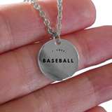 I Love Baseball Charm - Laser Engraved Gold plated Plated Chain Pendant - Great Gift Necklace For Wife/Girlfriend/Mom/Dad/Daughter/Son - Uncle Seal