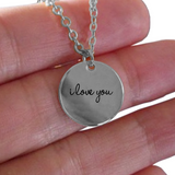 I Love You Charm - Laser Engraved Gold plated Plated Chain Pendant - Great Gift Necklace For Wife/Girlfriend/Mom/Dad/Daughter/Son