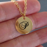 P Initial Necklace - Laser Engraved Gold plated Plated Chain Pendant - Name Charm - Uncle Seal