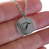 T Initial Necklace - Laser Engraved Gold plated Plated Chain Pendant - Name Charm - Uncle Seal