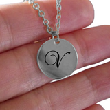 V Initial Necklace - Laser Engraved Gold plated Plated Chain Pendant - Name Charm - Uncle Seal