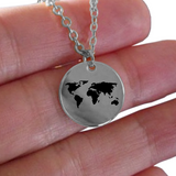 World Necklace - Gold plated Plated/Stainless Steel Laser Engraved Chain Pendant - Global Map - For Girls And Boys - Charm Gift - Uncle Seal