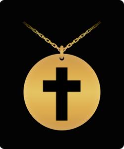 Laser Engraved Cross Necklace - Christian Pendant - Gold plated Chain Charm - Uncle Seal