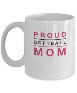 White Coffee Mug- Proud Softball Mom - Uncle Seal
