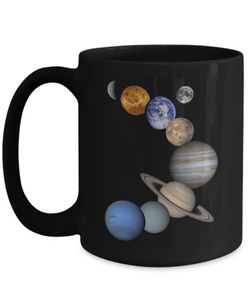 Solar System Design - Coffee Mug Black 15 oz - Uncle Seal