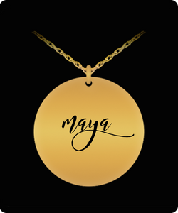Maya Pendant - Name Necklace - Personalized Charm Gift - Gold plated Plated/Stainless Steel - Laser Engraved - Lovely Present