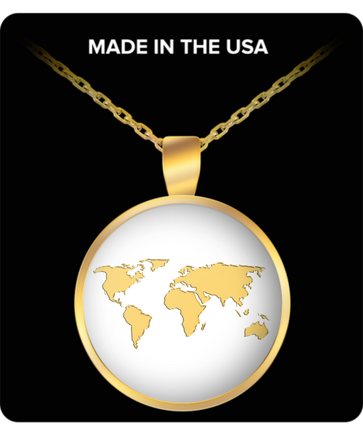 World Necklace - Gold Chain Pendant - Square/Round - Global Map - Uncle Seal