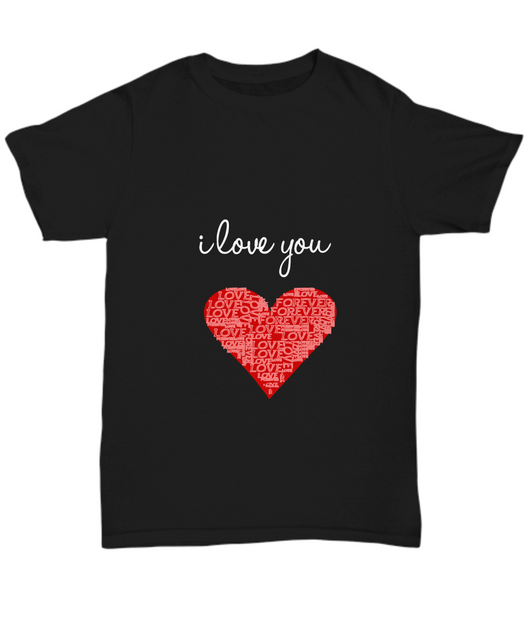 I love you design - Black T shirt Unisex - Uncle Seal