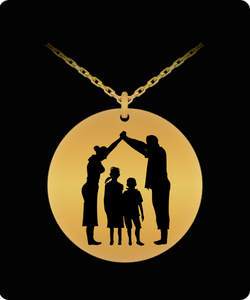 Family Love Necklace - Gold plated Plated Round Pendant - 2 Kids And Parents Design - Great Gift - Uncle Seal
