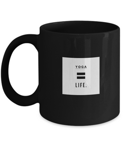 Black Coffee Mug - Life = Yoga - Uncle Seal