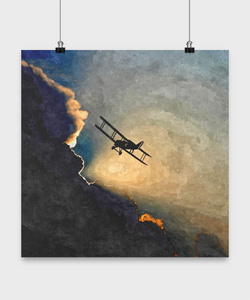 Vintage plane poster - Oil Paint Style design - Sunset Plane Poster - Uncle Seal