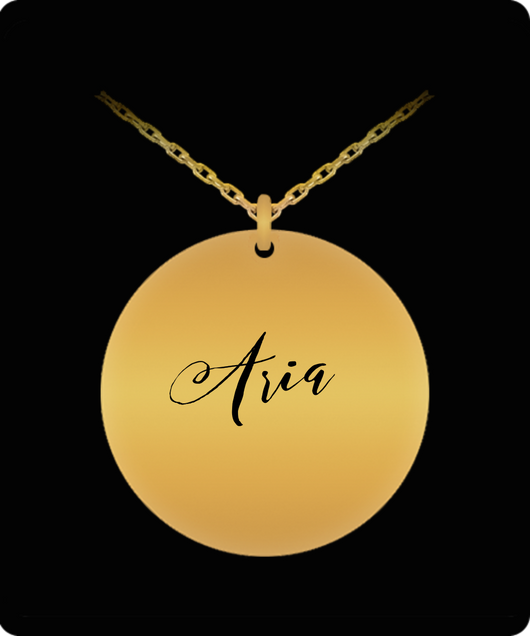 Aria Pendant - Name Necklace - Personalized Charm Gift - Gold plated Plated/Stainless Steel - Laser Engraved - Lovely Present - Uncle Seal