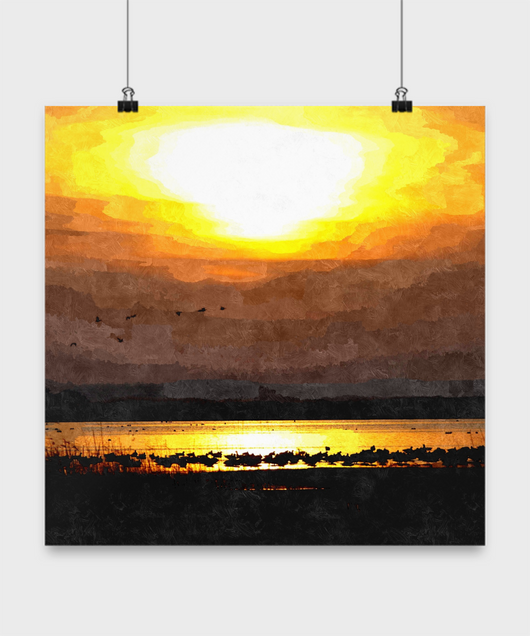 Lake Sunset Poster Oil Print style Design - Uncle Seal