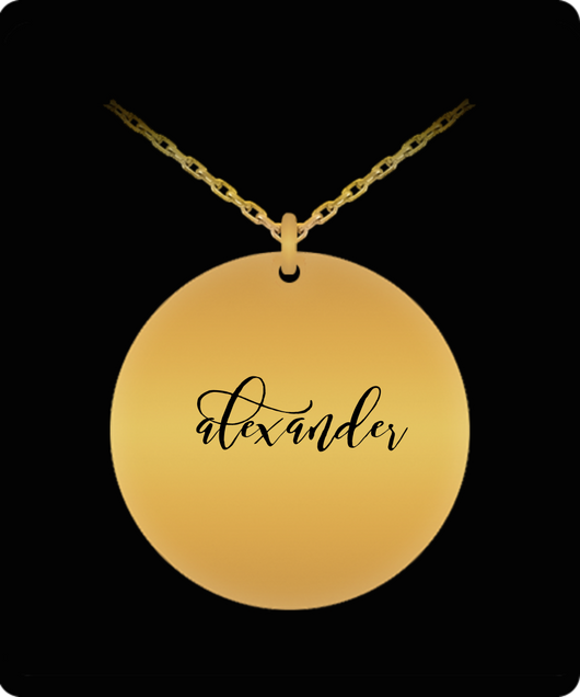 Alexander Pendant - Name Necklace - Personalized Charm Gift - Gold plated Plated/Stainless Steel - Laser Engraved - Lovely Present - Uncle Seal