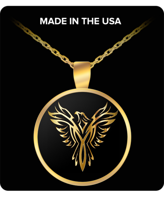 Phoenix Necklace - Gold Chain Pendant - Golden Firebird - For Men and Woman - Uncle Seal