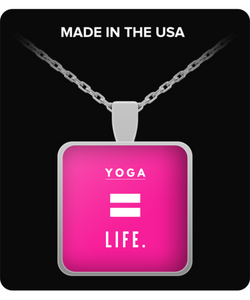 Life is Yoga - Square pink Necklace - Uncle Seal