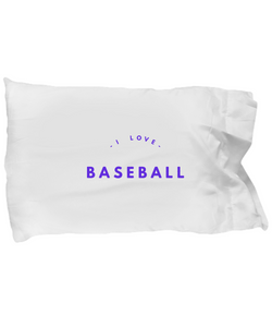 I love Baseball purple white - pillow case - Uncle Seal
