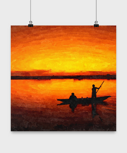 Sunset Landscape - Oil Paint Print style Design Poster - Uncle Seal