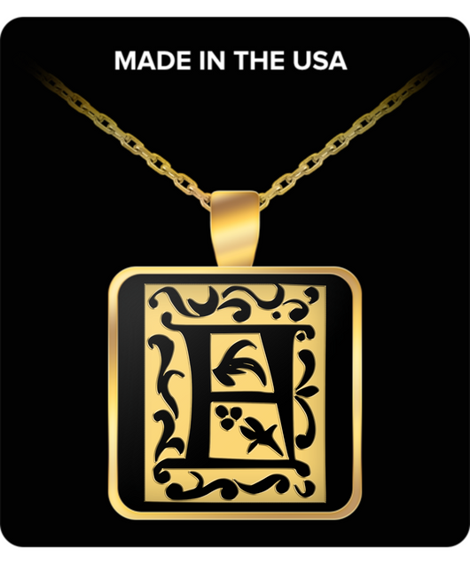Initial Necklace - Monogram - Letter A - Gold Chain Square Pendant - For Men And Woman - Uncle Seal