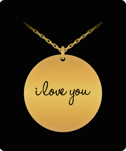 I Love You Charm - Laser Engraved Gold plated Plated Chain Pendant - Great Gift Necklace For Wife/Girlfriend/Mom/Dad/Daughter/Son - Uncle Seal