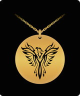 Phoenix Necklace - Gold plated Plated/Stainless Steel Laser Engraved Chain Pendant - Bird Charm Gift For Both Men And Woman - Uncle Seal