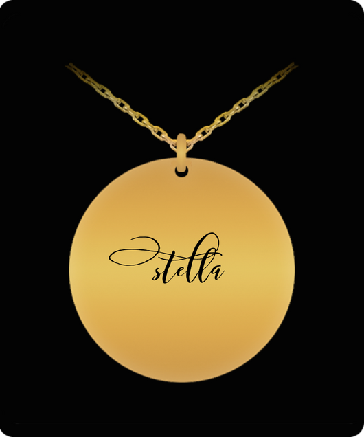 Stella Pendant - Name Necklace - Personalized Charm Gift - Gold plated Plated/Stainless Steel - Lovely Present - Uncle Seal