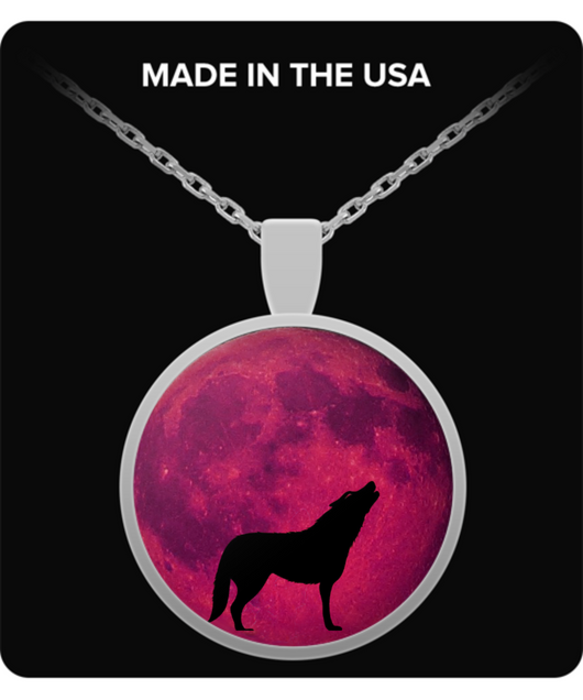 Wolf Moon Necklace - Round Pendant - Pink Design - Uncle Seal