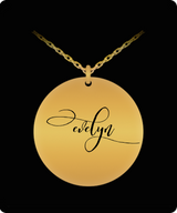 Evelyn Pendant - Name Necklace - Personalized Charm Gift - Gold plated Plated/Stainless Steel - Laser Engraved - Lovely Present - Uncle Seal