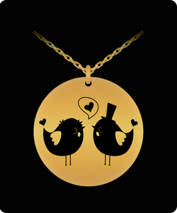 Lover Birds Necklace - Gold plated Chain Pendant - Cute & Romantic Gift Charm