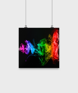Black Poster Wall - Abstract Color Smoke - Uncle Seal