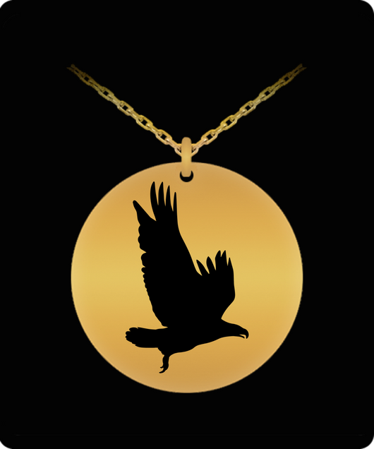 Eagle Necklace - Gold plated Plated/Stainless Steel Silver Laser Engraved Pendant - Great Gift Charm For Men and Woman - Uncle Seal