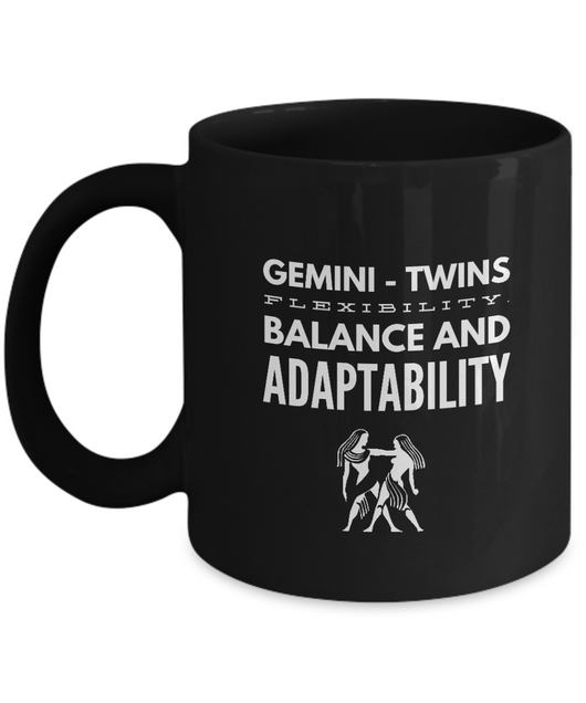 Zodiac Signs with slogan Coffee Mug Black design - Gemini Twins - Uncle Seal