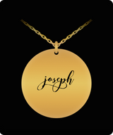 Joseph Pendant - Name Necklace - Personalized Charm Gift - Gold plated Plated/Stainless Steel - Laser Engraved - Lovely Present - Uncle Seal