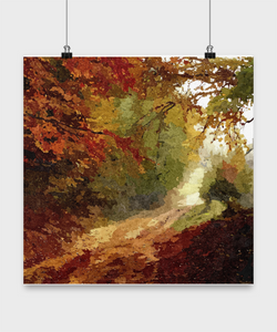Forest Oil Painting style - Oil Paint Design Style Print - 16x16 - Uncle Seal