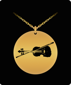 Laser Engraved Necklace - Gold plated Plated Round Pendant - Violin Design - Small Charm