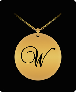 W Initial Necklace - Laser Engraved Gold plated Plated Chain Pendant - Name Charm