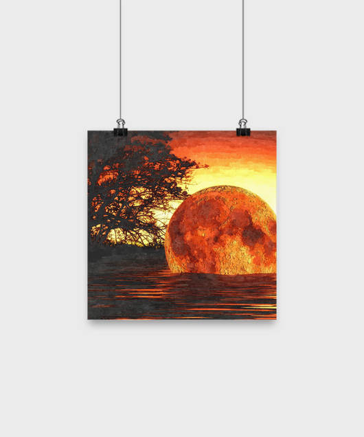 Ocean Sunset Painting - Abstract -Oil Painting Style Design - Uncle Seal