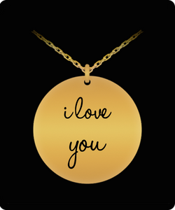 I Love You Necklace - Laser Engraved Gold plated Plated Chain Pendant - Great Gift Charm For Wife/Girlfriend/Mom/Dad/Daughter/Son