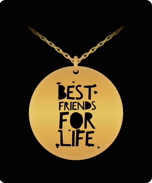 Best Friend Necklace - Laser Engraved Gold plated Plated Chain Pendant - Hearts Charm - Uncle Seal