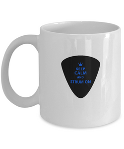 Guitar Mug - Keep Calm and Strum On - White Coffee Mugs 11oz - Uncle Seal