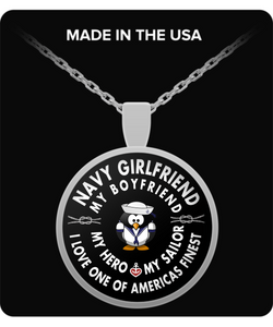 Navy Seal Girlfriend - Round Pendant Necklace - My Hero - My Sailor - Uncle Seal