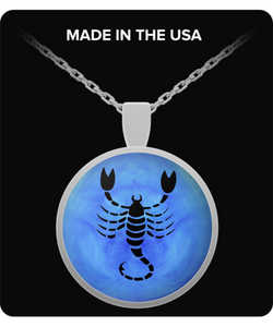 Scorpio Necklace - Zodiac Pendant - Blue Design - Uncle Seal