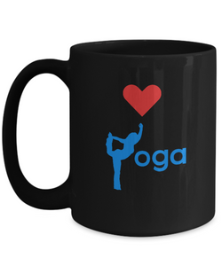Love Yoga - Black Coffee Mug 15oz - Uncle Seal