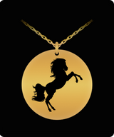 Horse Pendant Necklace - Gold plated Plated Round Pendant - Cute Charm - Uncle Seal