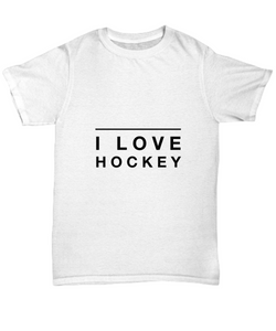 I Love Hockey design - White Tshirt - Uncle Seal
