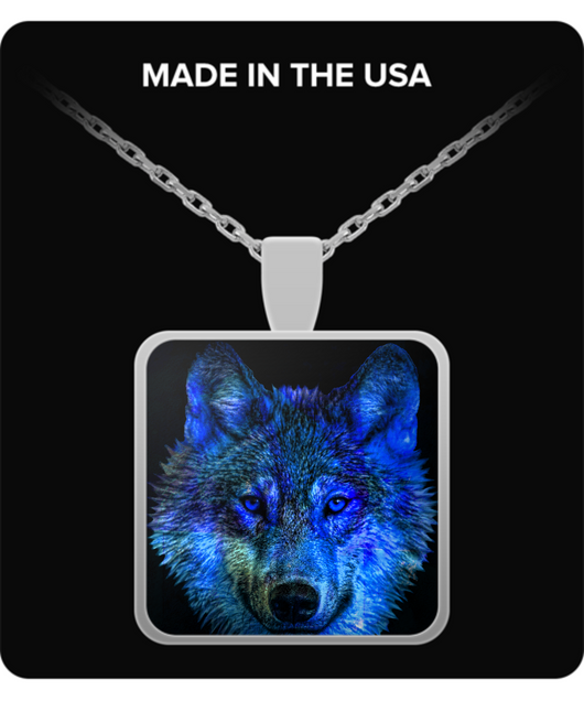 Native American Wolf Necklace - Square Pendant - Blue Design - Uncle Seal