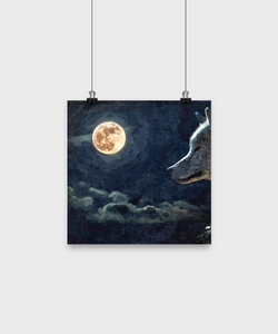 Wolf Moon Poster - Oil Painting Style Design - Uncle Seal