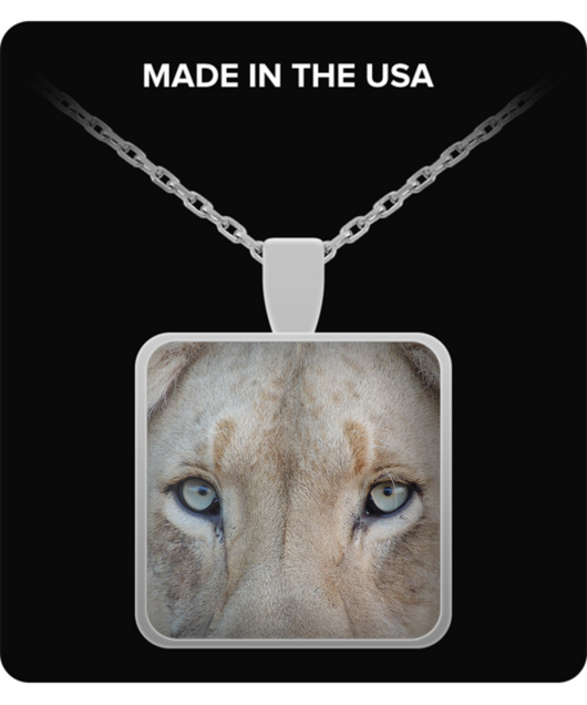 Square Pendant Necklace - Lion - Uncle Seal