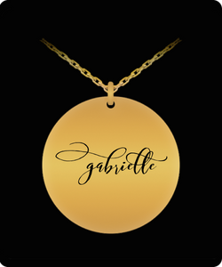 Gabrielle Pendant - Name Necklace - Personalized Charm Gift - Gold plated Plated/Stainless Steel - Laser Engraved - Lovely Present - Uncle Seal