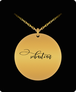 Sebastian Pendant - Name Necklace - Personalized Charm Gift - Gold plated Plated/Stainless Steel - Laser Engraved - Lovely Present - Uncle Seal
